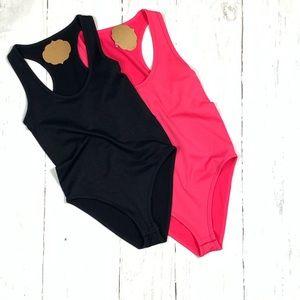 Racer back tank sleeveless black stretch bodysuit